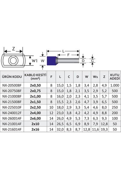 Nexo Çift Girişli İzoleli Kablo Yüksükleri Beyaz 2 x 0.50 mm2 1000'li