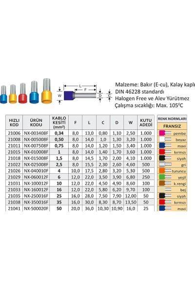 Nexo Tek Girişli İzoleli Kablo Yüksükleri Kırmızı 1,0 mm2 x 1000'li