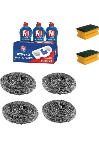 Pril Bulaşık Deterjanı 3 x 675 gr + 2 Adet Sünger + 4 Adet Ovma Teli