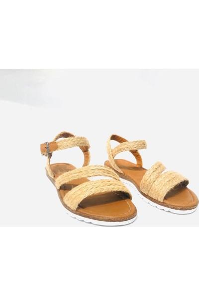 Rana Shoes Topuksuz Hasır Sandalet