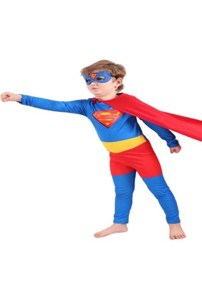 Ek Bebek Pelerinli Maskeli Süperman Kostüm
