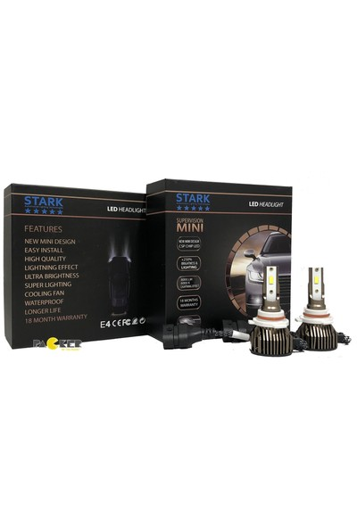 Stark Supervision Mini / Slim Hb4 9006 Csp LED Xenon 8000 Lümen Şimşek Etkili 6000 Kelvin Beyaz Renkli Far Ampulü