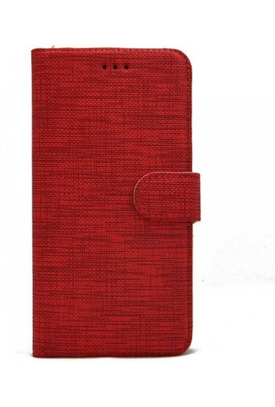 Tbkcase Samsung Galaxy A01 Kılıf Kumaş Spor Standlı Cüzdan Kırmızı