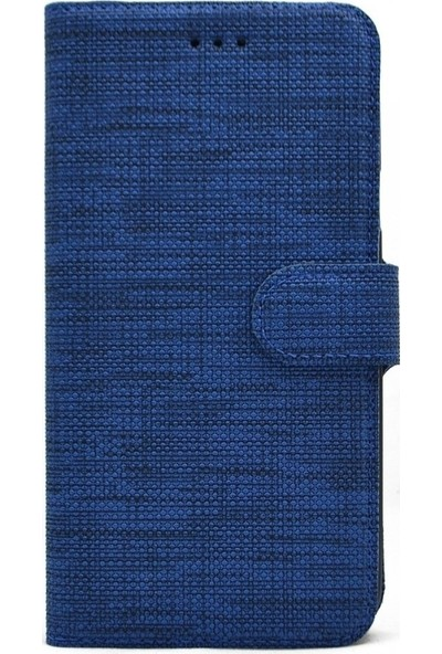 Tbkcase Samsung Galaxy A01 Kılıf Kumaş Spor Standlı Cüzdan Lacivert