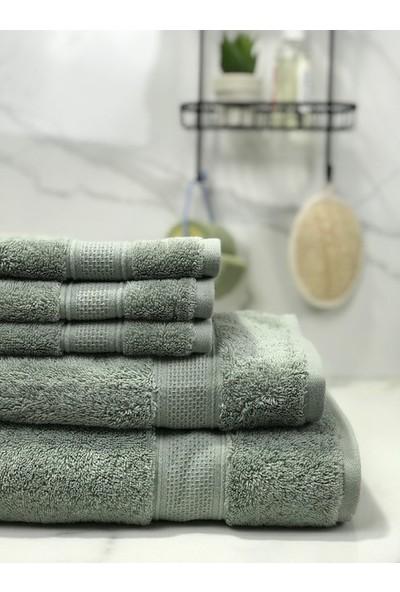 E – Fabrika 5 Parça Pamuklu Banyo Havlu Seti Rice Çağla