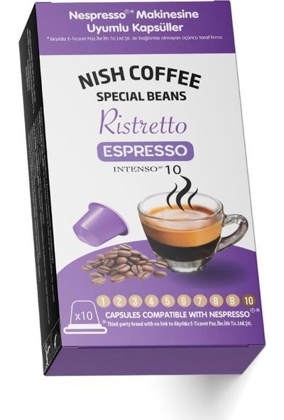 Nish Kahve Nish Nespresso Uyumlu Kapsül Kahve 10 Ristretto 10'lu