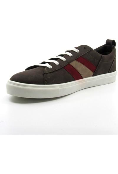 ALPHAONE Kahverengi Suni Deri Erkek Sneaker