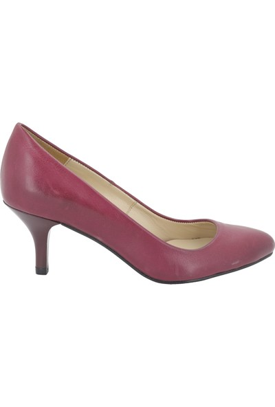 Gön Bordo Deri Topuklu Kadın Ayakkabı 22046