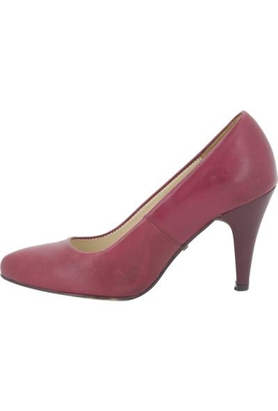 Gön Bordo Deri Topuklu Kadın Ayakkabı 22322