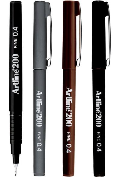 Artline 200 Fine Yazı ve Çizim Kalemi Soğuk Renkler 0.4 mm 4'lü