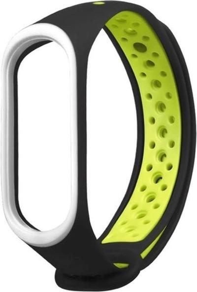 Sporty Mi Band 3/4 Akıllı Bileklik Spor Kordon - Siyah Yeşil