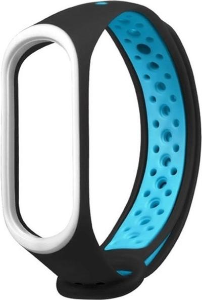 Sporty Xiaomi Mi Band 3/4 Akıllı Bileklik Spor Kordon - Siyah Mavi