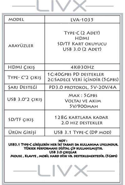 Livx 7 In 1 Type C Multi - Functional Çevirici Usb3.0*2/4khd/type-C*2/sd/tf LVA-1035