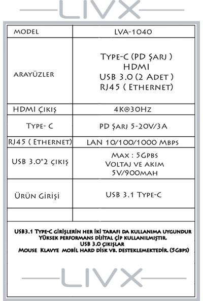 Livx 5 In 1 Type C Multi Functional Adapter Çevirici Usb3.0*2/4Khd/Pd/Rj45 Lva-1040