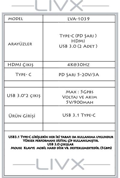 Livx 4 In 1 Type C Multi - Functional Adapter Çevirici Usb3.0*2/4khd/pd LVA-1039