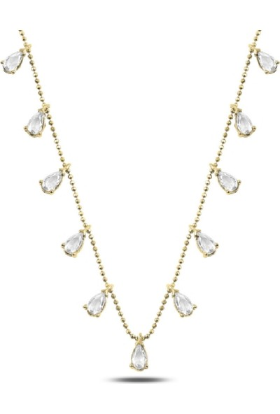 Karakaya Kuyumculuk Damla Model Beyaz Zirkon Taşlı Altın Kaplama Gümüş Kadın Kolye