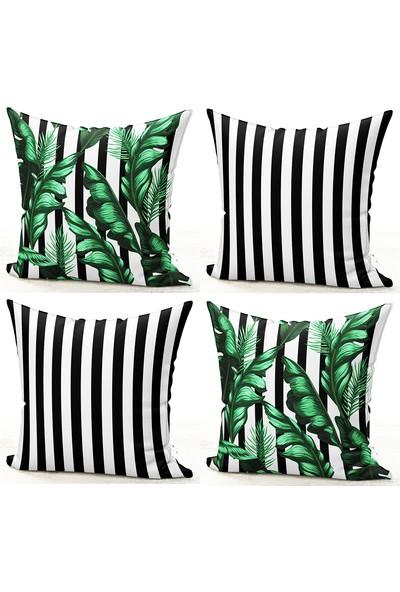 Bk Home Dekor Çizgili Yeşil Yaprak 4'lü Kombin Kırlent Kılıf Set 48