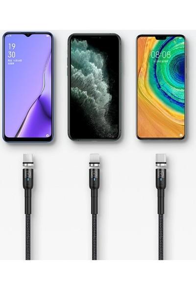 Ally Kuulaa Magnetic-Mıknatıslı Lightning + Type-C + Micro USB USB Şarj Kablosu 3 Başlık AL-32051