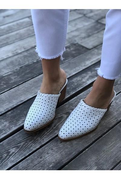 Shoemark Nossa Gerçek Deri Beyaz Topuklu Terlik