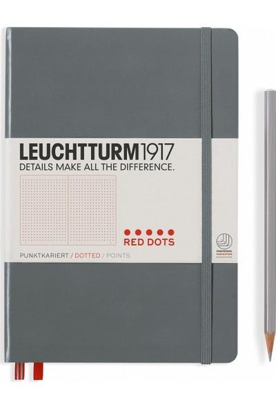 Leuchtturm Orta Boy A5 Red Dots Özel Seri Not Defteri Noktalı Sert Kapak Antrasit Gri