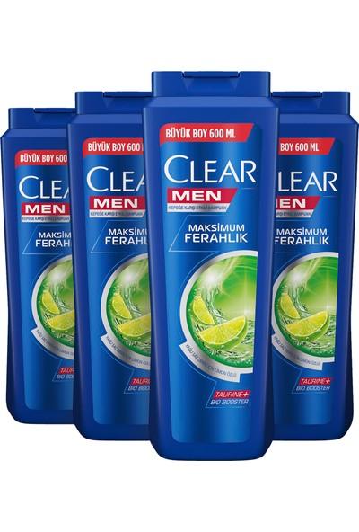 Clear Men Yağlı Saç Derisi İçin Maksimum Ferahlık Şampuan 600 ml x 4