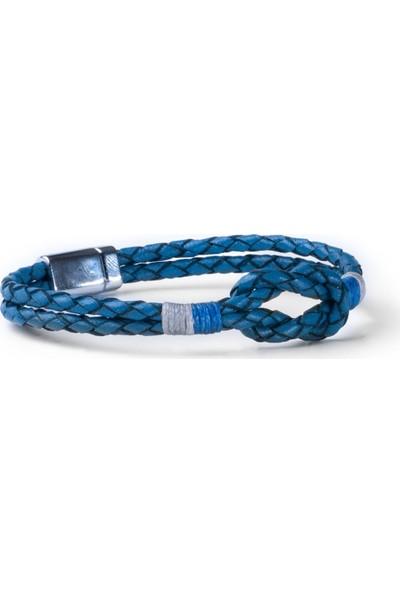 Deri Company Blue Krit Bileklik