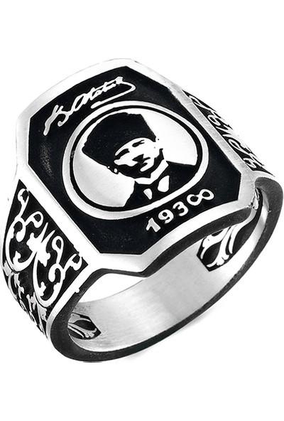 Mina Silver Atatürk Silüet Imzalı Taşsız Gümüş Erkek Yüzük