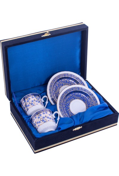 Güral Porselen 2'li Kadife Kutulu Porselen Kahve Fincan Takımı Seti Orn 706