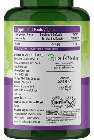 Nature's Supreme Biotin 2500 Mcg 120 Kapsül