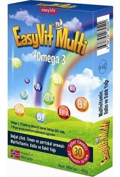 Easyvit Multi Omega 3 + Multivitamin 30 Çiğnenebilir Jel Tablet