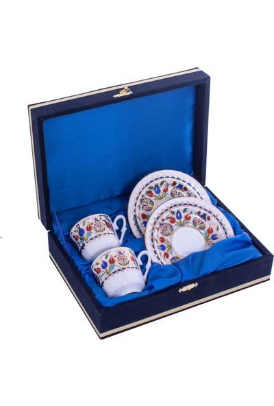 Güral Porselen 2'li Kadife Kutulu Porselen Kahve Fincan Takımı Seti Orn 729