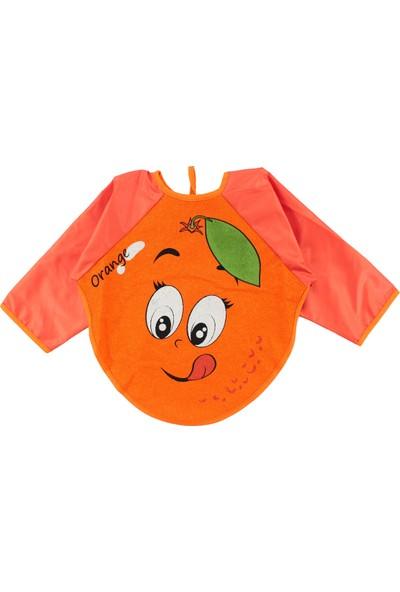 Buude Portakal Motif Bebek Kollu Mama Önlüğü