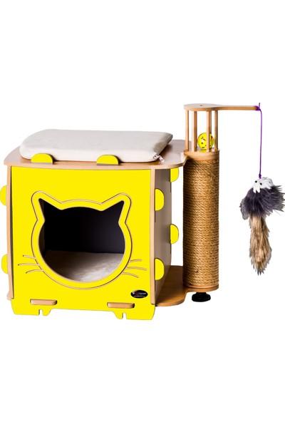 Patihomes Ada Tırmalamalı Kedi Evi Sarı