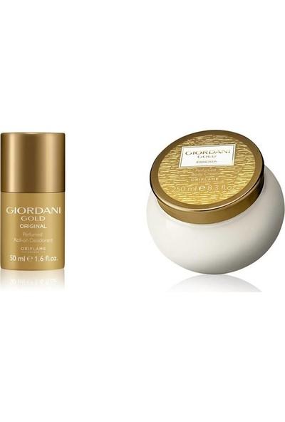 Oriflame Giordani Gold Essenza Parfümlü Vücut Kremi 250 ml + Giordani Gold Original Parfümlü Roll-On Deodorant 50 ml