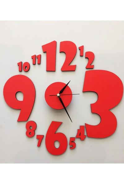 Pratik Dekor Rakam Saat Kırmızı