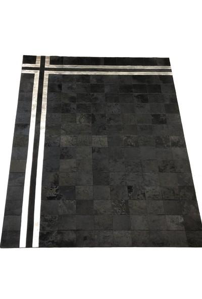 Bienna Fur Siyah Doğal Dana Deri Salon Halısı