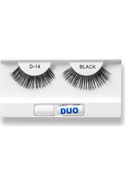 Duo Takma Kirpik %100 Doğal ve Siyah Görünüm D-14
