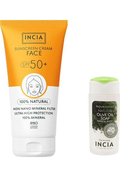 Incia Güneş Seti Yüz Kremi SPF50+ 50 ml Sıvı Sabun Hediyeli