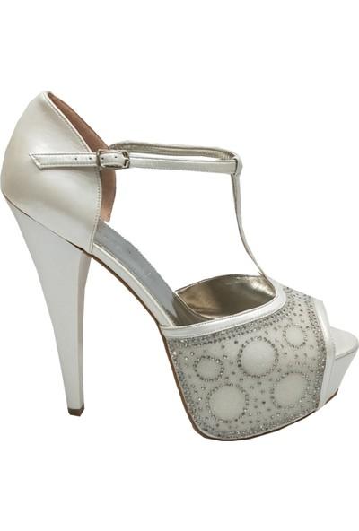 Smilee 4239 Platform Taşlı Abiye Kadın Ayakkabı