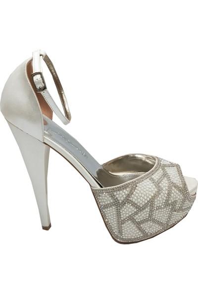 Smilee 4431 Platform Taşlı Abiye Kadın Ayakkabı
