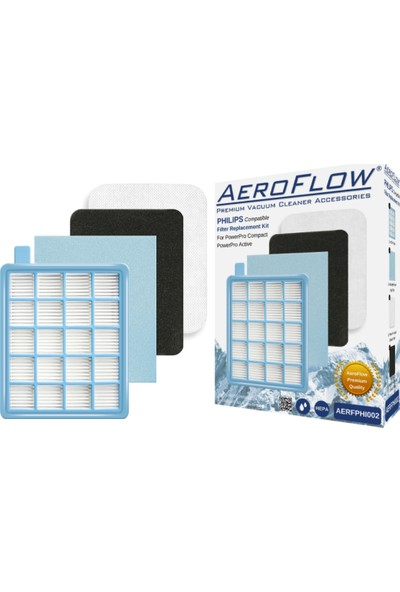Aeroflow Philips Fc 8632 8633 Power Pro Hepa Filtre Seti