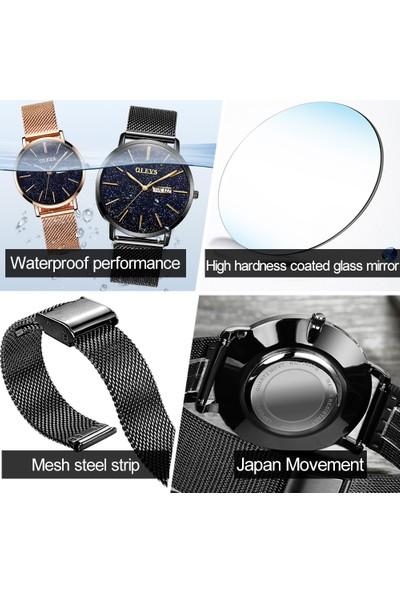 Olevs Örgü Metal Kordonlu Kadın Saat Şık Tasarım Olevs Marka Bayan Saat
