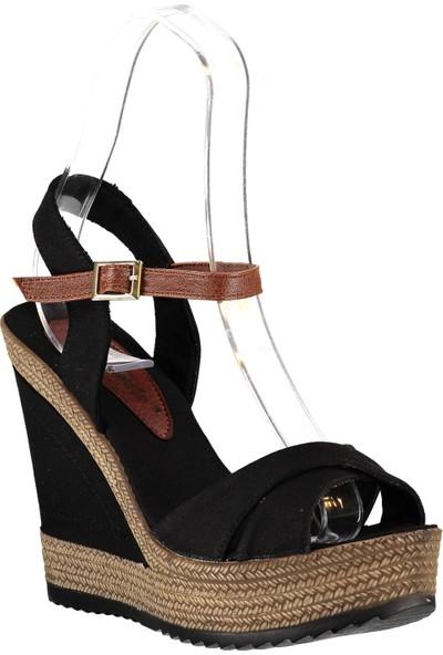 Fox Shoes Siyah Kadın Dolgu Topuklu Ayakkabı 9674070905