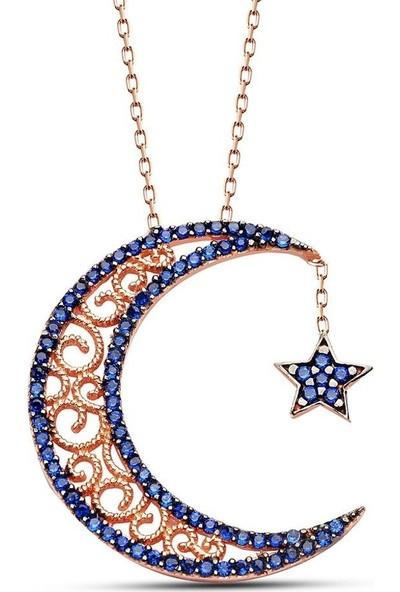 Pigado 925 Ayar Gümüş Mavi Zirkon Taşlı Ay ve Yıldız Kolye