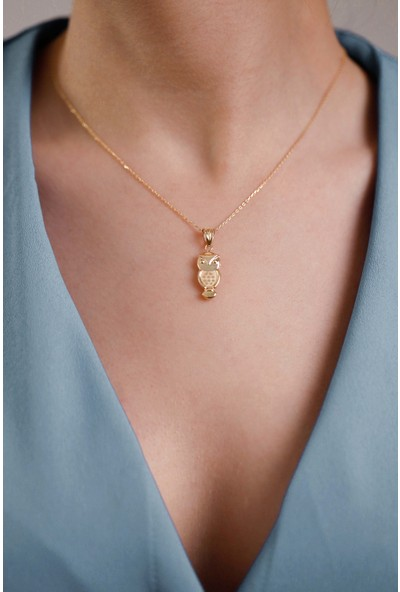 Mithra Jewelry Üç Boyutlu Baykuş Model Gümüş Kolye 925 Ayar