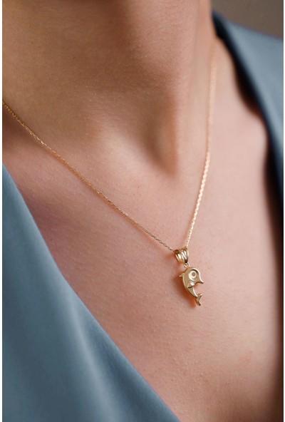 Mithra Jewelry Üç Boyutlu Yunus Model Gümüş Kolye 925 Ayar