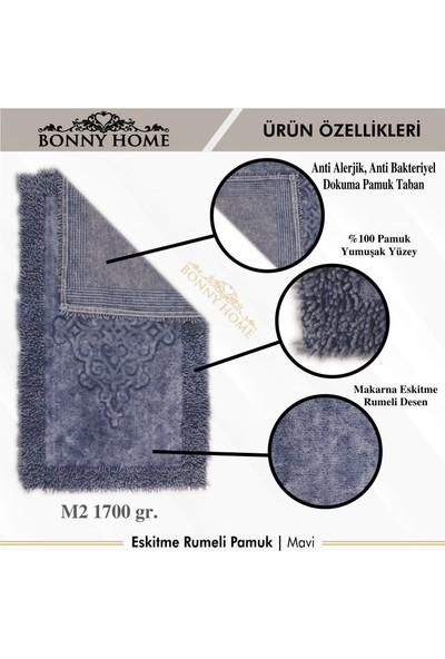 Bonny Home Mavi Makarna Eskitme Rumeli Pamuk 2'li Klozet Takımı