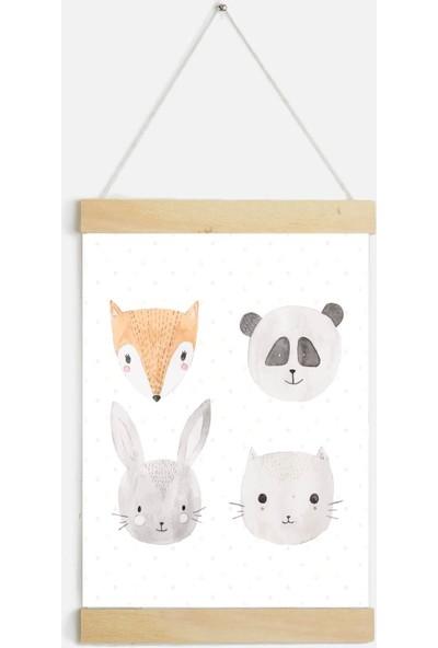 Yamamiya Sevimli Hayvanlar Zincir Askılı Kanvas Poster Tablo Duvar Dekoru