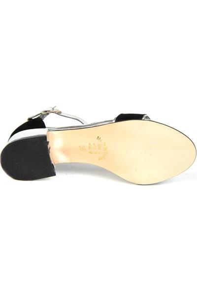 Ayfu 19 Siyah-Gümüş Süet 3 cm Topuklu Yazlık Kadın Sandalet