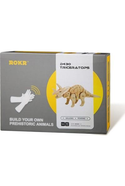 Robotime Ses Kontrollü 3D Ahşap Puzzle Dinozor Triceratops-D430